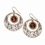 Copper-tone Circle Filigree w/Sienna Crystal Dangle Earrings