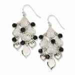 Silver-tone Black Acrylic Beads Chandelier Earrings