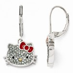 Sterling Sivler Hello Kitty Crystal/Enamel Red Bow Leverback Earrings