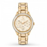 Ladies Citizen Eco Drive Gold Tone Watch with Crystals Chronograph