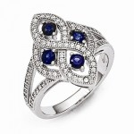 Sterling Silver Sapphire & CZ Brilliant Embers Polished Ring