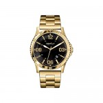 Gents Caravelle by New York Watch with Gold-Tone Stainless Steel Bracelet Band and Black Dial