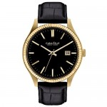 Gents Caravelle by Bulova Watch with Black Leather Strap, Black Dial and Day Indicator