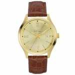 Gents Caravelle by New York Brown Leather Band Watch with Gold-Tone Dial and Day IndicatorGents Caravelle by New York Brown Leather Band Watch with Gold-Tone Dial and Day Indicator