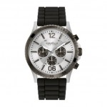 Gents Caravelle by New York Watch with Rubber Band and Silver Tone Chronograph Dial
