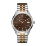 Gents Caravelle by New York Bracelet Band Watch with Rose Accents and Brown Dial