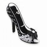 Black Polka Dot Romance Peep-toe Shoe Ring Holder