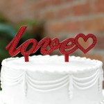 Red Love Bling Cake Topper