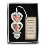 Silver-tone In Loving Memory Double Heart Photo Frame Ornament