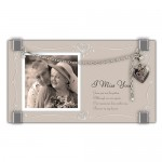 Silver-tone Bracelet w/Locket I Miss You Glass 2in. Photo Frame