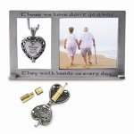 Silver-tone Always In My Heart Ash Holder Locket 3x5 Photo Frame
