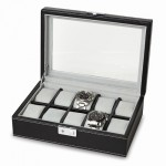 Black Faux Leather 10-watch Box