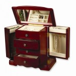 Cherry Three Drawer Musical Jewelry Box