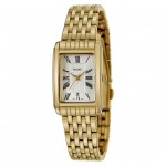 Ladies Gold-Tone Stainless Steel Bracelet Band Pulsar Watch with White Dial and Roman Numerals and Date Indicator