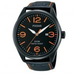Gents Pulsar Black Leather Strap Watch with Orange Stitching and Orange Numbers