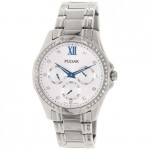 Ladies Pulsar Stainless Steel Bracelet Band Chronograph Watch with Accent Crystals and Blue Hands