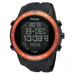 Pulsar Digital Silicone Band Watch with Orange Bezel