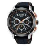 Gents black leather strap Pulsar Chronograph Watch with Stopwatch