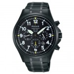 Gents Black-Tone Stainless Steel Bracelet Band Pulsar Chronograph Watch