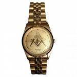 Gents Gold-Tone Masonic Emblem Bracelet Band Watch Pulsar