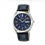 Gents Genuine Black Leather Strap Seiko Watch with Stunning Blue Dial and Day/Date Indicator.