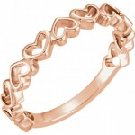 14k Rose Gold Multi Open Heart Ring