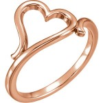 14k Rose Gold Open Heart Ring