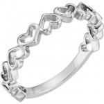 Sterling Silver Multi Open Heart Ring