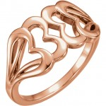 14k Rose Gold Multi Heart Ring