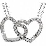 Sterling Silver Diamond Interlocking Heart Necklace