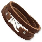 Stainless Steel Brown Leather Wrap Bracelet