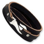 `Stainless Steel Black And Brown Leather Wrap Bracelet