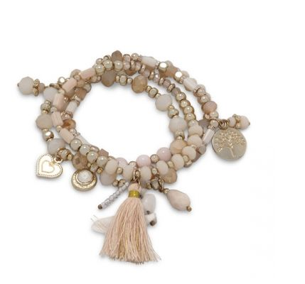 Set of 4 Gold Tone Fashion Multicharm Stretch Bracelets with Peach Tassle