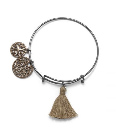 Black Tone Expandable Tan Tassel Charm Fashion Bangle Bracelet