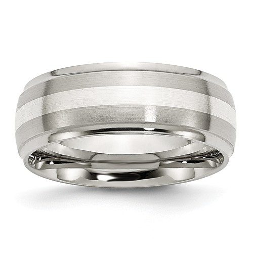 Stainless Steel Sterling Silver Inlay Ridged Edge Brushed and Polished Band