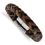 Stainless Steel Polished Black And Brown Leather 8.5in Bracelet