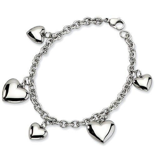 Stainless Steel Polished Hearts 8in Bracelet