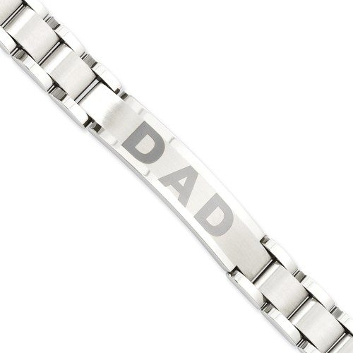 Stainless Steel Brushed and Polished Dad Bracelet