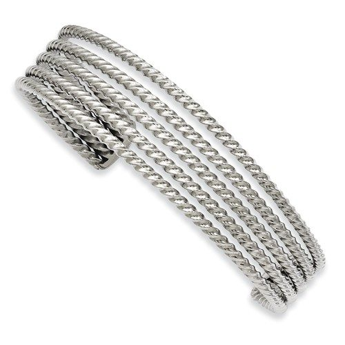 Stainless Steel Textured Cuff Bangle