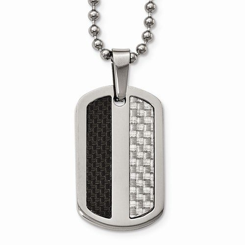 Stainless Steel Polished Black/Gray Carbon Fiber Inlay Dogtag Necklace