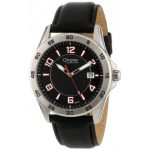 Caravelle by Bulova Mens Black Leather Strap Watch with Black Dial and Date Indicator White and Red Numbers