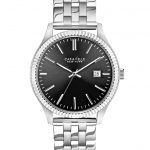 Caravelle by New York Mens Stainless Steel Silver Tone Bracelet Band Watch with Date and Black Gray Face Dial
