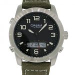 Caravelle by Bulova Mens Green Canvas Band Watch with Black Dial and Digital Feature in Dial