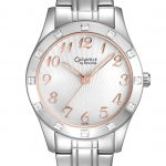 Caravelle by Bulova Ladies Watch with Silver-Tone Stainless Steel Bracelet Band, Crystal Accents, and Rose-Tone Accents, and White DialCaravelle by Bulova Ladies Watch with Silver-Tone Stainless Steel Bracelet Band, Crystal Accents, and Rose-Tone Accents, and White Dial
