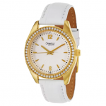 Caravelle by Bulova Ladies White Leather Strap Watch with Gold-Tone Case and Crystals around