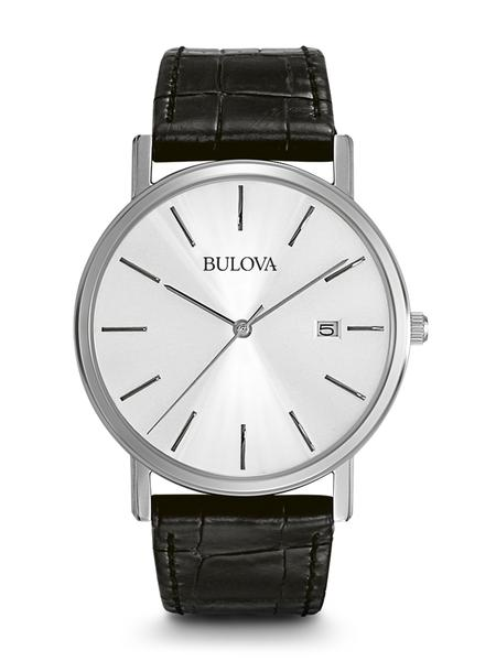 From the Classic Collection. Silver patterned dial. Calendar. Stainless steel case. Black leather strap.