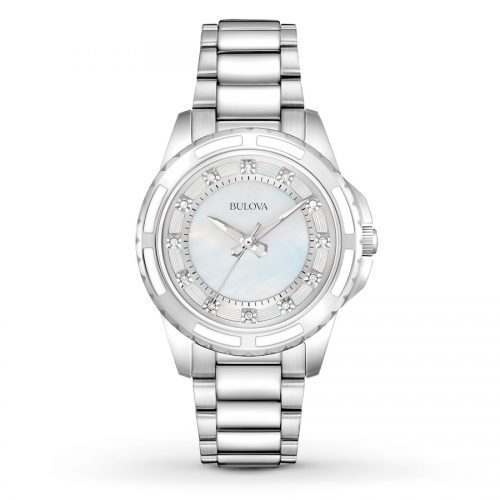 Bulova Ladies Stainless Steel Silver-Tone Bracelet Band with Mother of Pearl Dial and 12 Diamonds Push Button Deployment Closure
