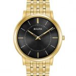 Bulova Mens Stainless Steel Gold-Tone Bracelet Band Watch with Black Dial Face