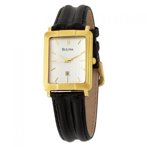 Bulova Unisex mens ladies black leather strap watch with gold tone stainless steel case date indicator