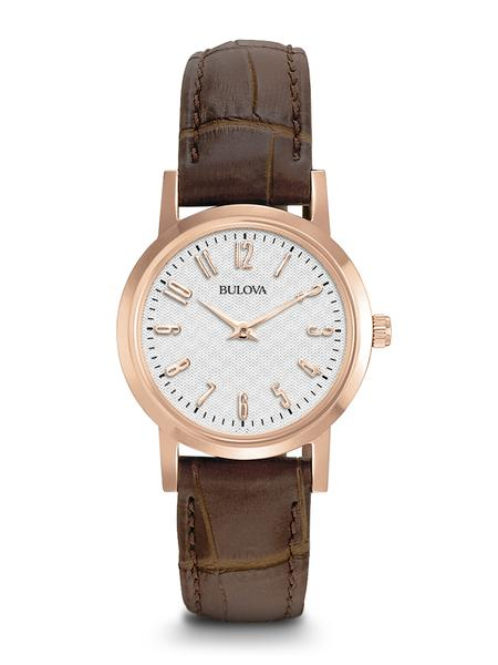 Bulova Ladies Rose-Gold Finish Brown Leather Strap Watch